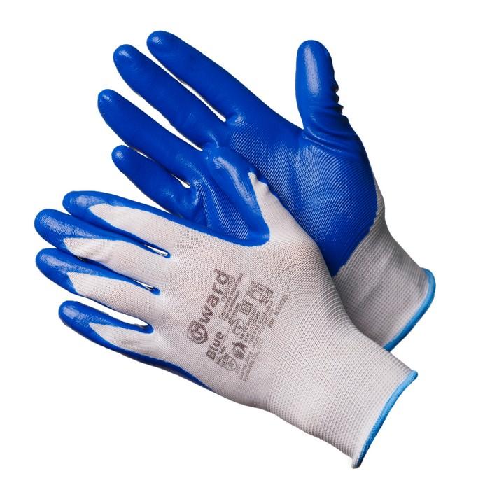Gward Blue Перчатки из белого нейлона с синим нитриловым покрытием