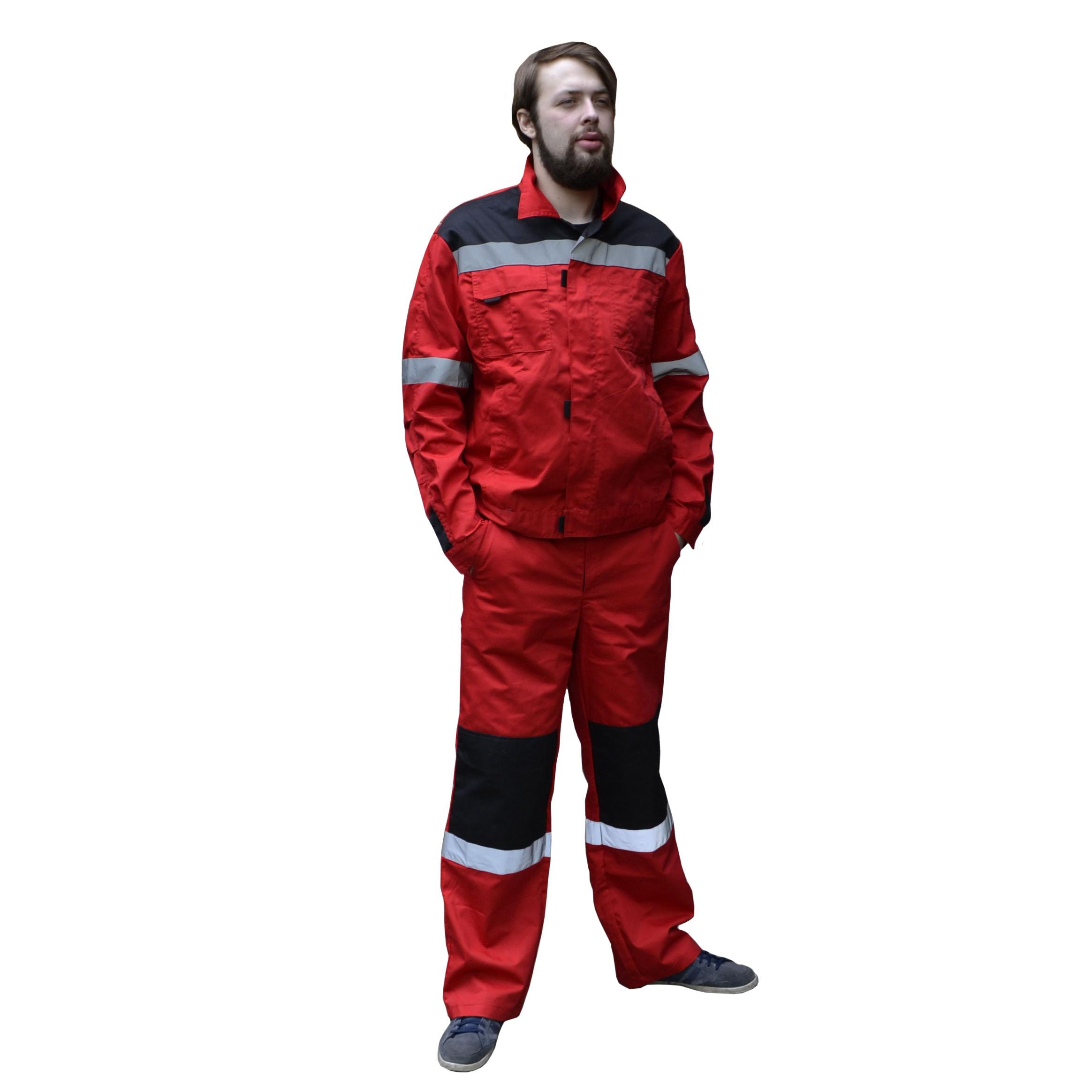 Костюм «Фаворит СП» куртка, брюки красный с черным, СОП, тк.Твилл 240 гр.