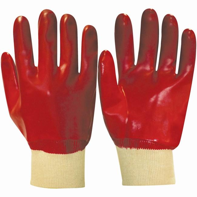 Перчатки с обливкой ПВХ красного цвета