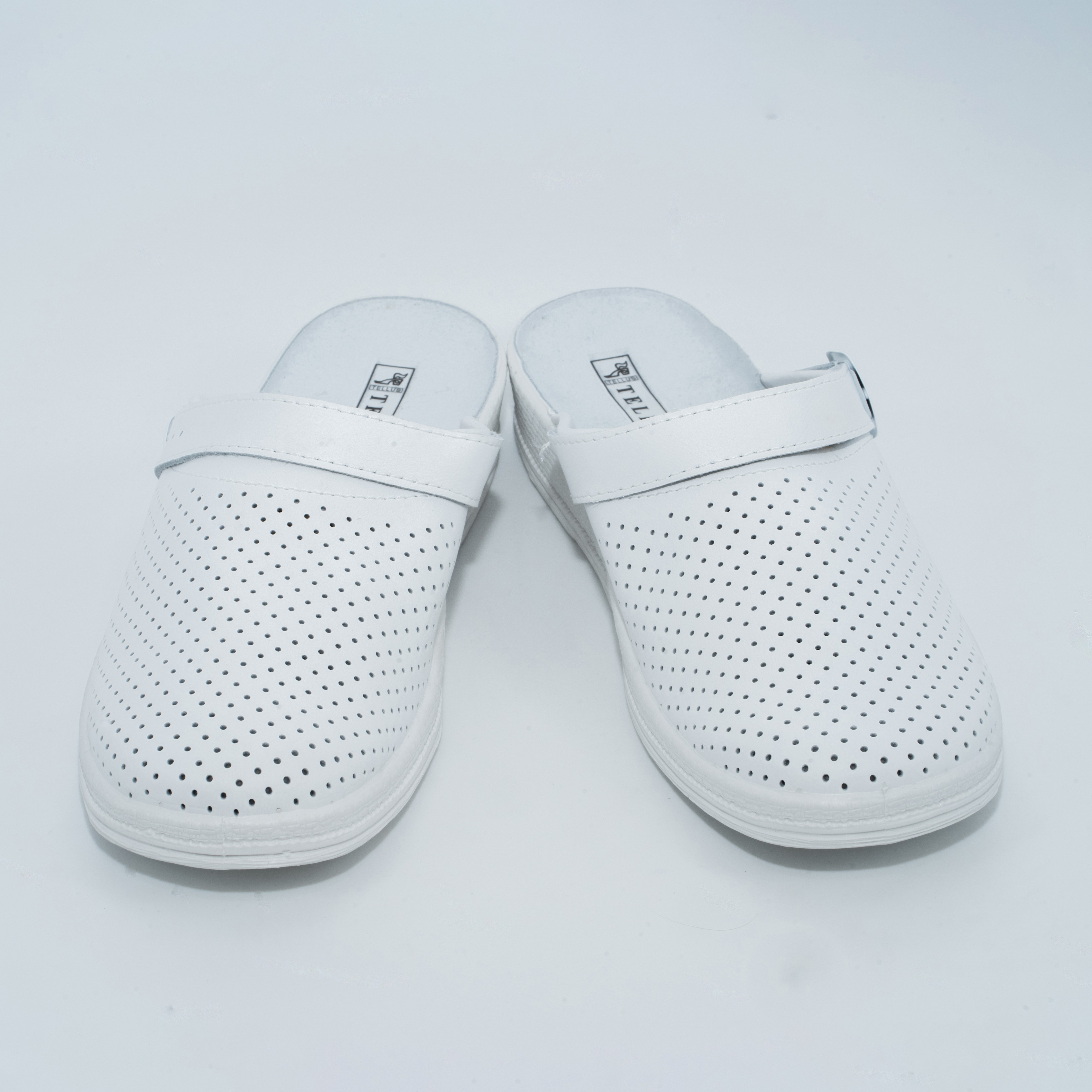 74-01 обувь женская повседневная типа Сабо с верхом из кожи на подошве ПВХ ( белый)