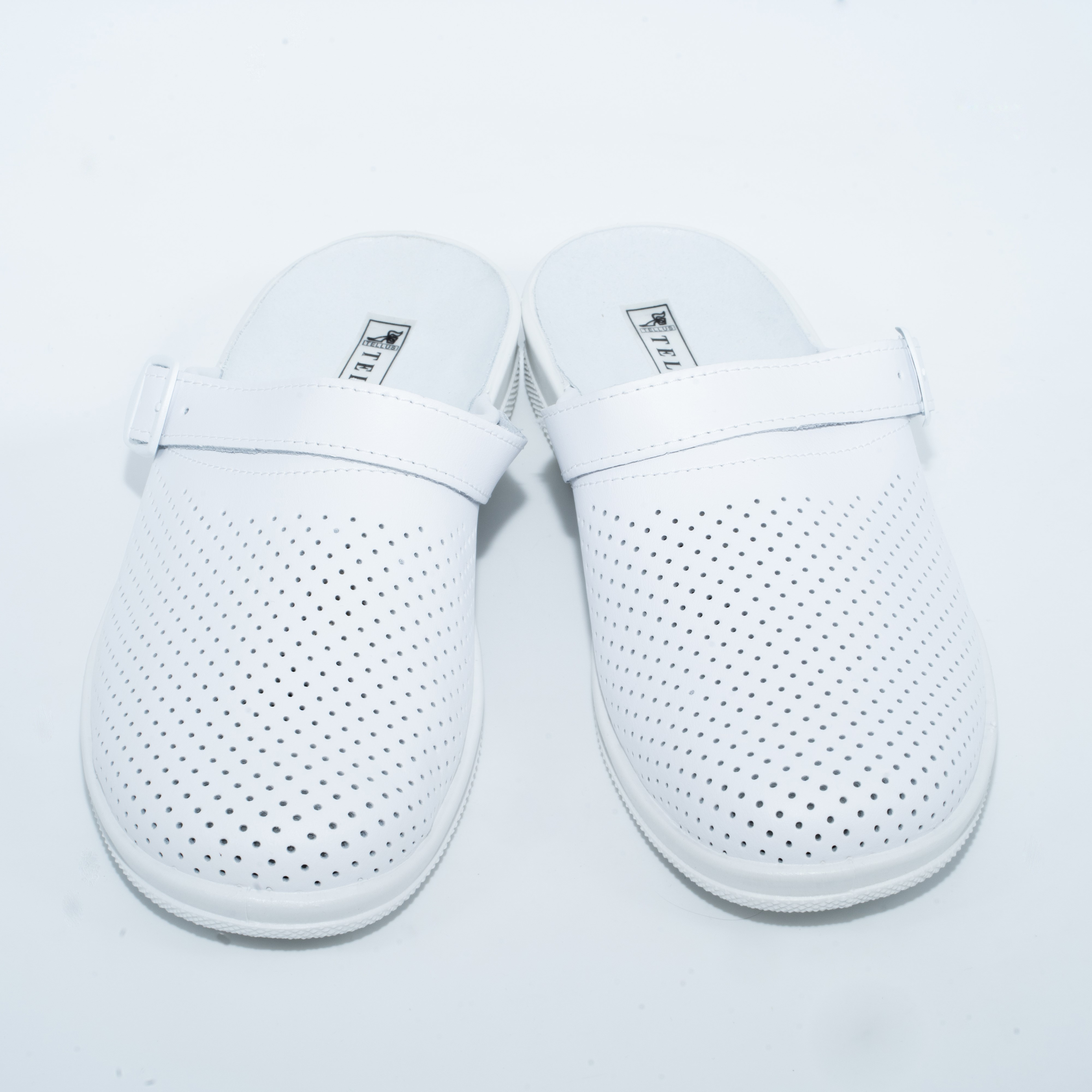 52-01 Обувь мужская  повседневная типо Сабо с верхом из кожи на подошве ПВХ ( белый)