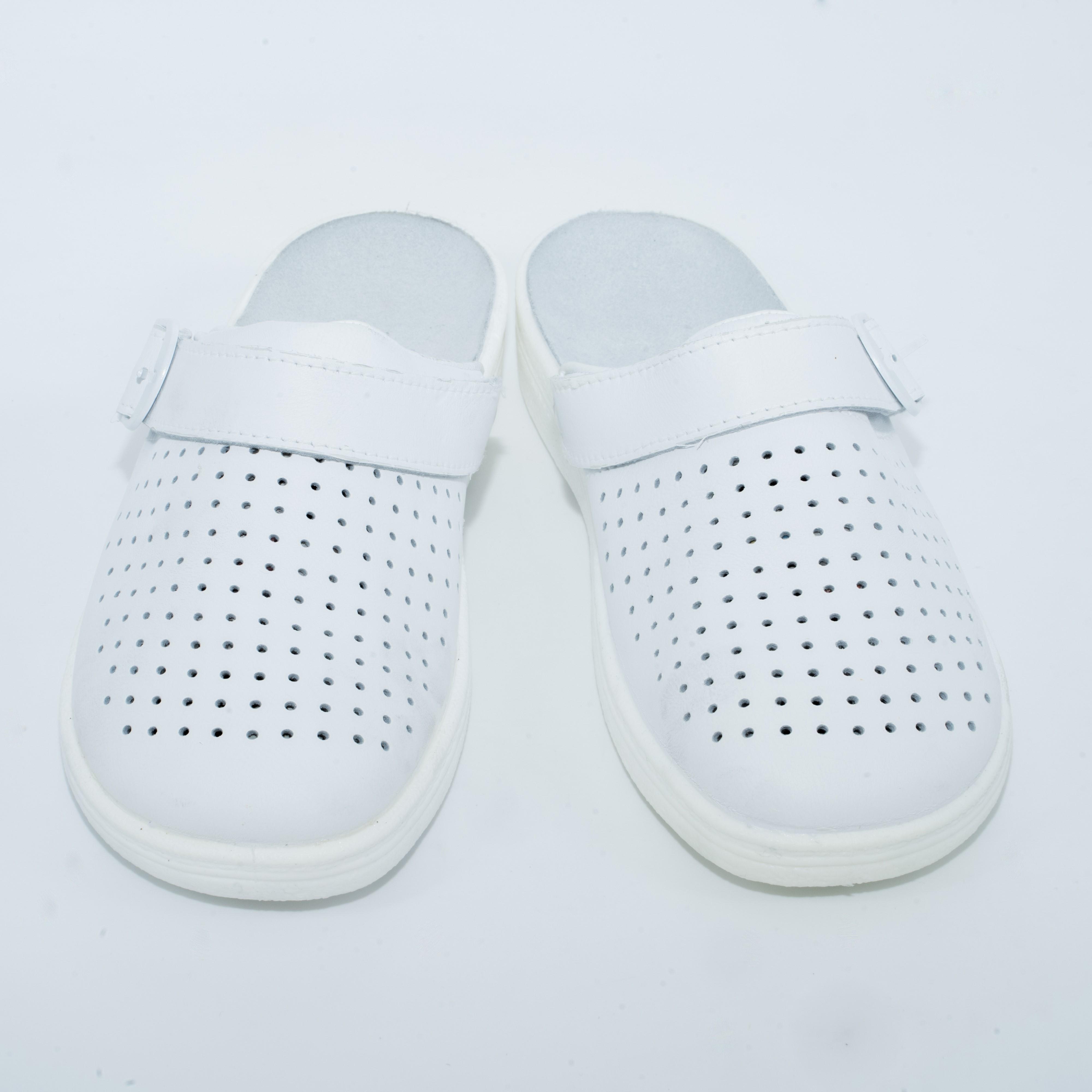 04-04 (Унисекс) обувь повседневная типа Сабо с верхом из кожи на подошве ПУ ( Белый)