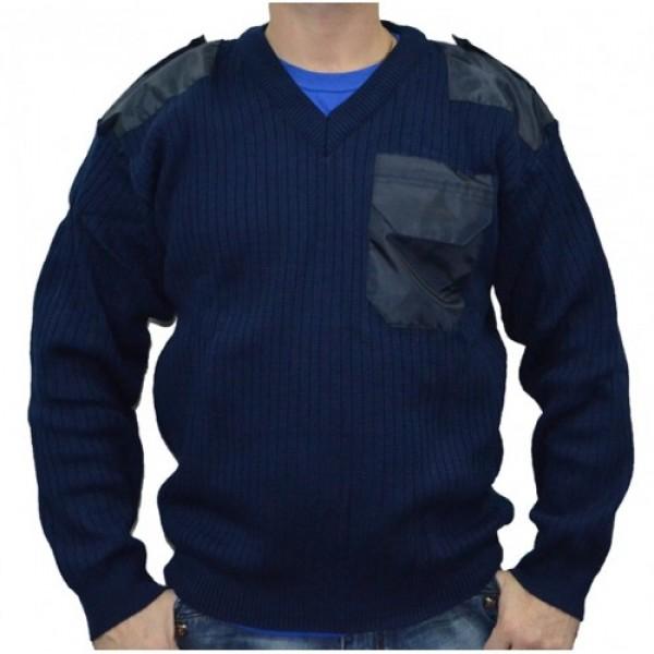 Джемпер форменный темно-синий V-обрвзный вырез